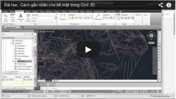 Cách gắn nhãn cho bề mặt trong Autocad Civil 3D