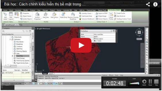 Cách chỉnh kiểu hiển thị bề mặt trong Autocad Civil 3D