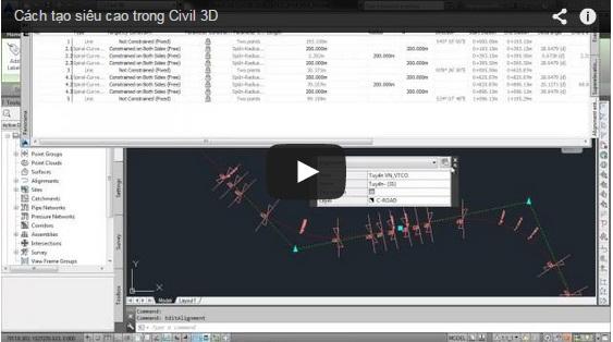 Cách tạo siêu cao trong Autocad Civil 3D
