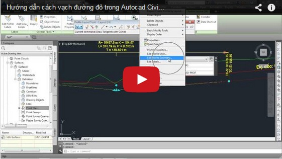 Hướng dẫn cách vạch đường đỏ trong Autocad Civil 3D